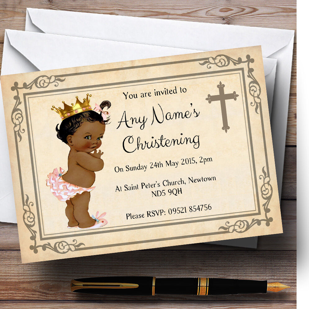 Baby Personalised Girl Dark Skin Christening Party Personalised Baby