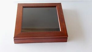 "Solid Wood Rosewood 7"" x 7"" display Shadow box Pin Case"
