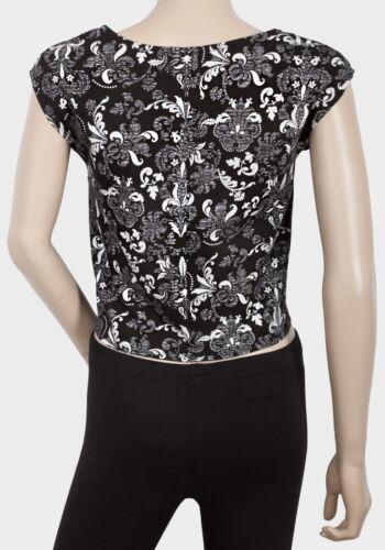 Ladies Floral Black Tie Front T-Shirt Top Sizes 6,8,10,12,14,16,18 Free P+P