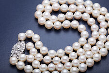 Antique $15000 1.75ct Old Euro Diamond Platinum DOUBLE Strand 9mm Pearl Necklace
