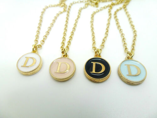 ROUND ENAMEL /& GOLD LETTER D INITIAL CHARM  NECKLACE IN PINK BLUE BLACK OR WHITE