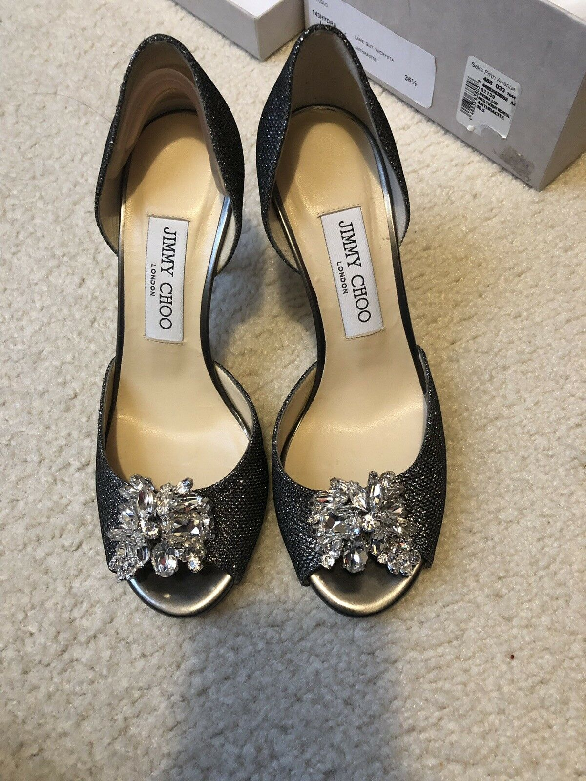 Brand New New New Jimmy Choo Anthracite With Crystal Taille 36.5 89f61f