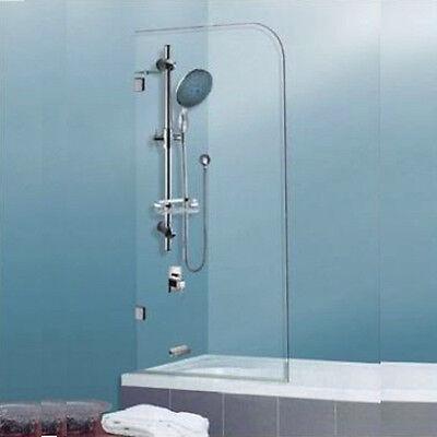 700 x 1450 mm Frameless Single Round Bath Screen - 10mm Toughened  Glass