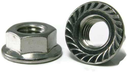 Stainless Steel Hex Flange Nut Serrated UNC 1//4-20 Qty 50