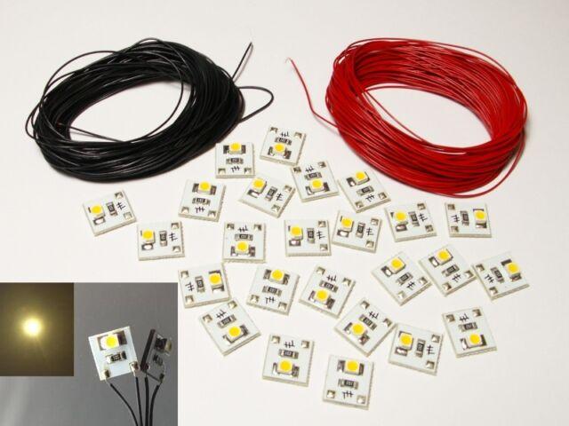 S257 -25 Stück LED Beleuchtung warmweiß 10-24V Bausatz Sockel + Kabel für Häuser
