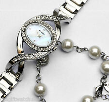 Henley Ladies Crystal Watch and Faux Pearls Bracelet Set including Gift Box