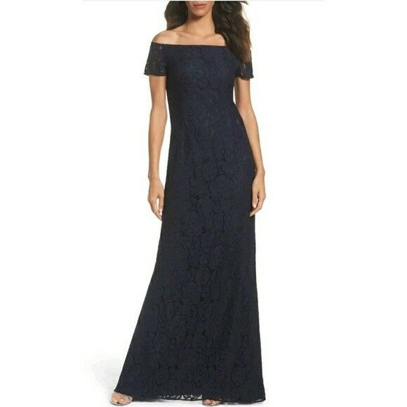 219 ADRIANNA PAPELL Lace Off the Shoulder A-Line Dress Midnight Size 2 NEW
