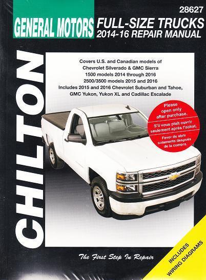 2014-2016 Chevy GMC Silverado Sierra Tahoe Yukon Chilton Repair Shop on