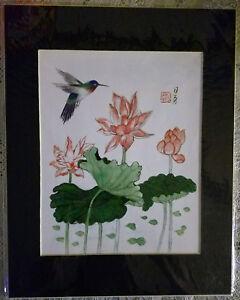 11x14 Hummingbird With Pink Lotus Flower Art Chinese Brush
