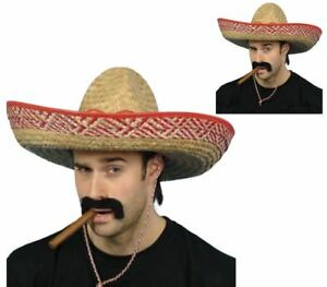Image is loading Mexican-Sombrero-Adults-Large-Straw-Bandit-Hat-One- e4711b22de8