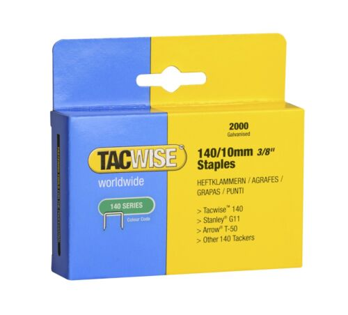 2000 recouvert de fournitures 10 mm Tacwise agrafes type 140