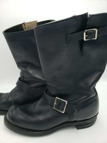 Vintage Black Leather Steel Toe Engineer Motorcycl