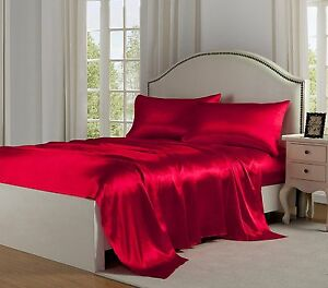King Size Satin Sheets Linens Sets Red Luxury Smooth Silk Soft Sheen
