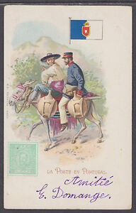 Kunzli-used-PPC-La-Poste-en-Portugal-1903-french-usage-early-Letter-Carrier