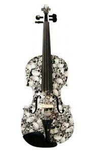 Full Size Geneva Tomb Of Skulls Visual Art Acoustic Violin W/ Case , Bow & Rosin