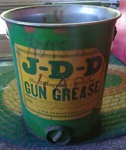 RARE 1940s-50s JOHN DEERE Dealer J-D-D GREASE 5 Gal. CAN..Broken Bow, Nebraska
