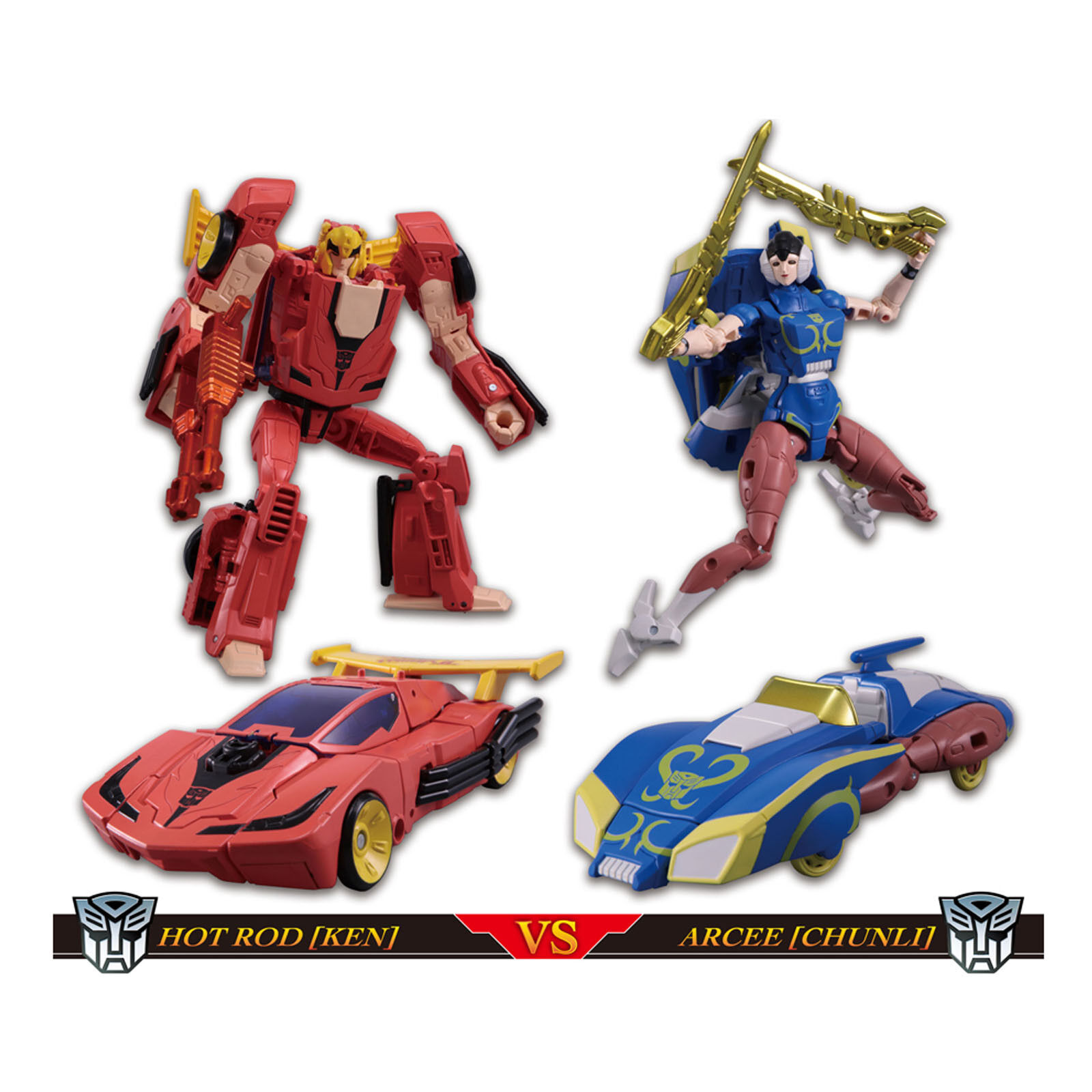 Transformers x Street Fighter2 HOT RODIMUS Ken VS ARCEE ChunLi Action Figure Toy