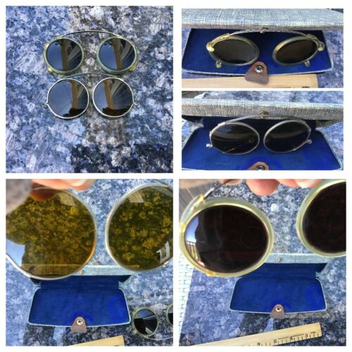 Vintage 1930s Round Clip On Sunglasses - Two Pair