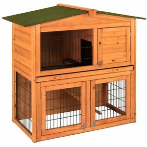 Image Is Loading Pet Rabbit Hutch Wooden 2 Tier Cage Guinea