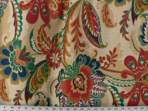 Drapery Upholstery Fabric Cotton Slub Linen-Look Tropical Print Natural Multi