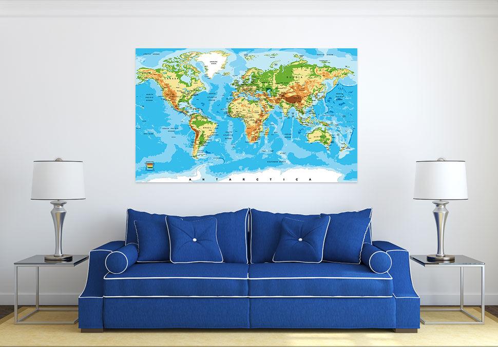 3D bluees Meer Land Weltkarte 7 Fototapeten Wandbild BildTapete AJSTORE DE Lemon