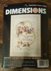 Dimensions 6730 United Hearts Wedding Record Mini Counted CrossStitch Kit