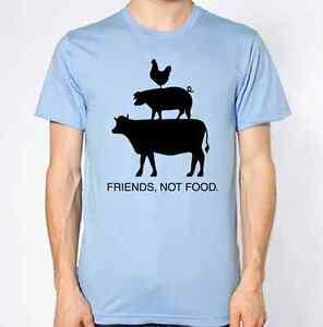 Friends-Not-Food-T-Shirt-Vegan-Top-Vegetarian-No-Meat-Pig-Cow-Chicken-Animals