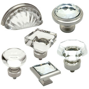 Image Is Loading Cosmas Clear Satin Nickel Glass Cabinet Knobs Cup