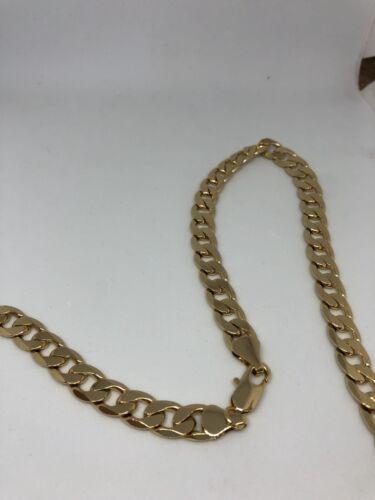 """18k Para Hombre Cubano Curb Collar Cadena de oro GF 24/"""" enlaces sólido 10mm De Lujo"""