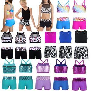 6b56f445b UK Girls Kids 2-Piece Sport Dance Outfit Crop Tops Shorts Gym ...
