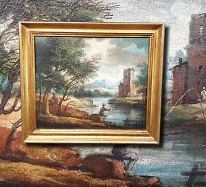 Arkadisches-Landschaftsgemaelde-18-19-Jhdt-Antikes-Olgemaelde-Angler-vor-Burg