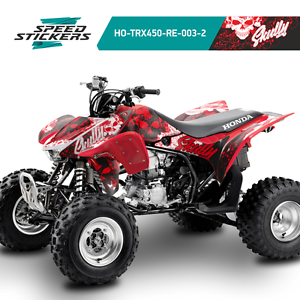 HONDA TRX450 TRX450R GRAPHICS KIT DECALS STICKERS RED//WHITE PERFECT FIT