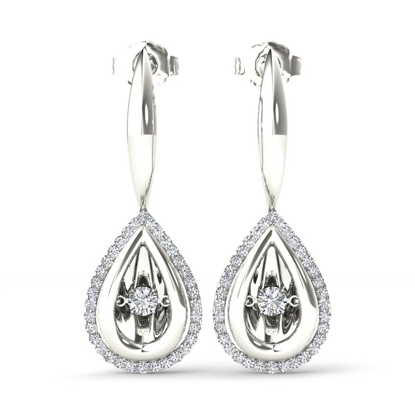 10k White gold 1 3ct TDW Diamond Halo Drop Earrings