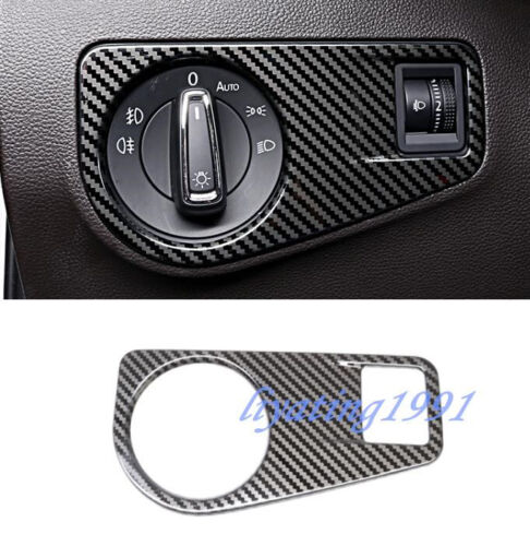 Carbon Fiber Headlight Switch Button Cover Trim For Volkswagen VW Tiguan 2017-18