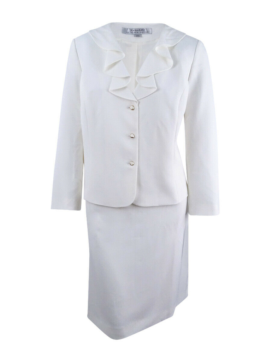 Tahari ASL Mujer  Petite falda con volantes traje (16P, blancoo Marfil)  promociones de equipo