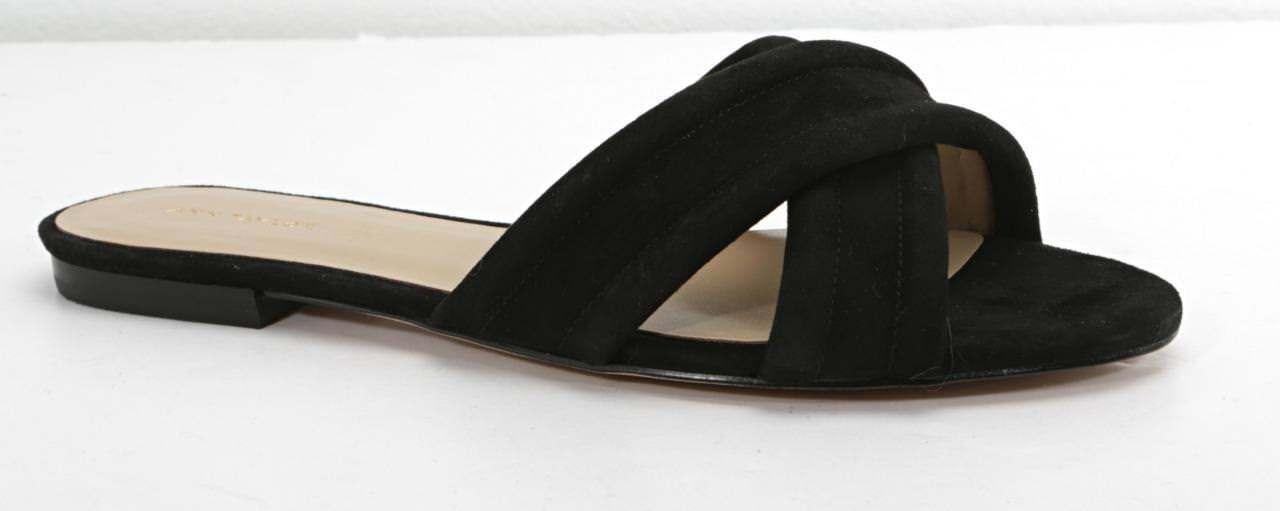ANN ANN ANN TAYLOR Womens Black Suede GRETEL Slip-On Cross Slides Sandals Flats 8 NEW 0623cf