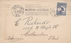 BD234-Australia-1914-small-neat-cover-bearing-2-5d-1st-wmk-Kangaroo-Perth-to-USA
