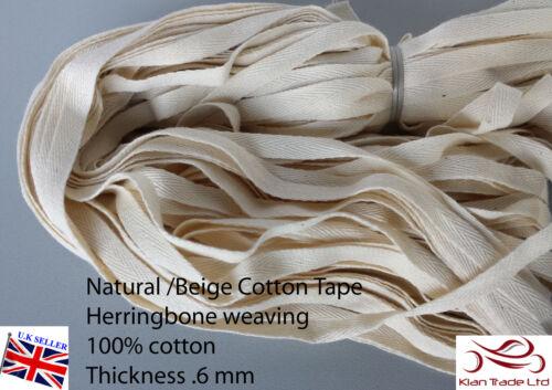 6mm beige//natural Herringbone Tejido EMPAVESADO Algodón vinculante Correas Cinta X50 Mt