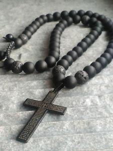 Halskette-Onyx-perlen-Lavastein-Anhaenger-Kreuz-Edelstahl-Schmuck-Necklace