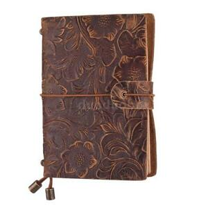 Vintage Leather Travel Diary Journal Notebook Embossed Flower Notepad Sketchbook