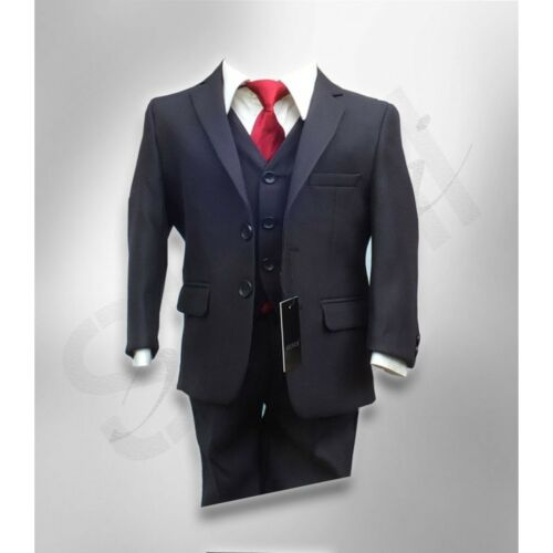 Boy Striped Elegant Suit Boys Black or Navy Suit with A Burgundy and Black Tie