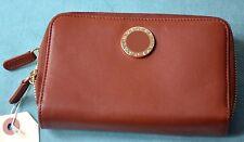 New Authentic $640 Bvlgari Bulgari Women's Soft Brown Leather Zip Around Wallet