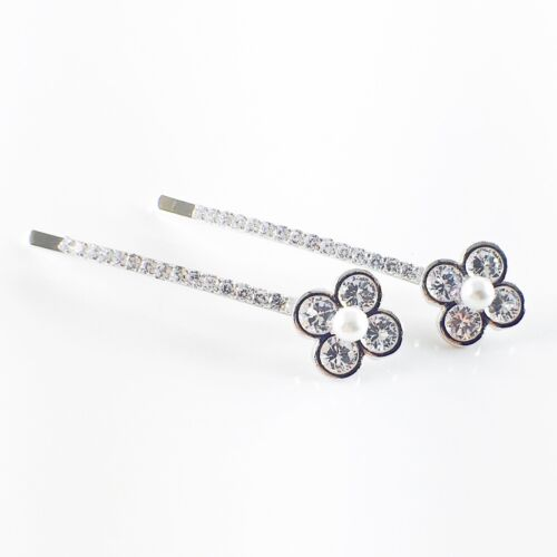 Bobby Pin Hair Clip use Swarovski Crystal Hairpin Flower Pearl Elegant Silver
