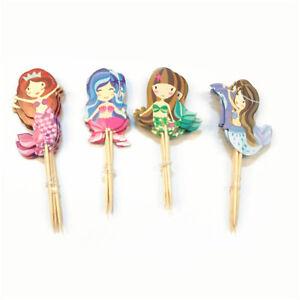 24x-dessin-anime-sirene-Cupcake-Topper-pics-enfant-decoration-fete-anniversaire
