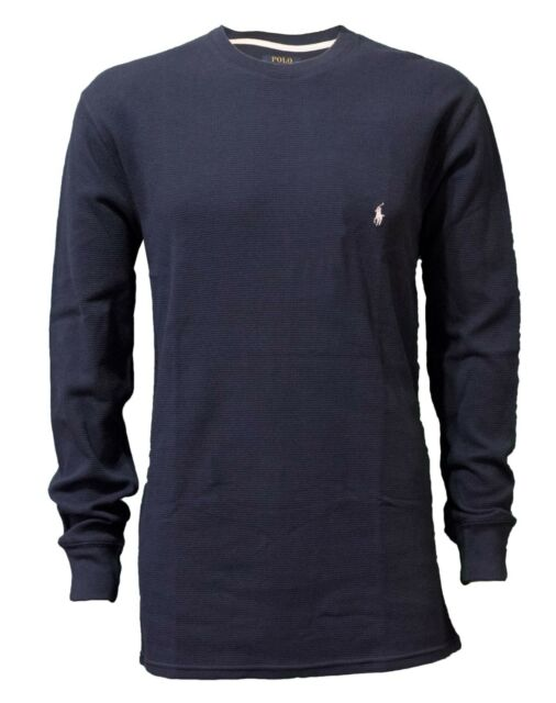 bd6334cbecf1d Polo Ralph Lauren Men s Solid Waffle-Knit Crew-Neck Pony Blue Thermal Top  Shirt