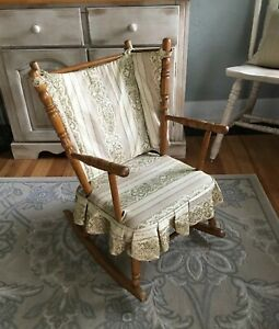 Groovy Details About Vintage Wood Rocking Chair Child Kids Size Upholstered Country Home Decor Creativecarmelina Interior Chair Design Creativecarmelinacom