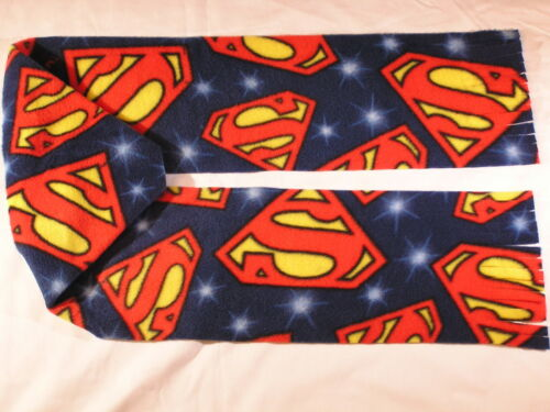 Superman Emblem Fleece Scarf Red and Yellow on Blue