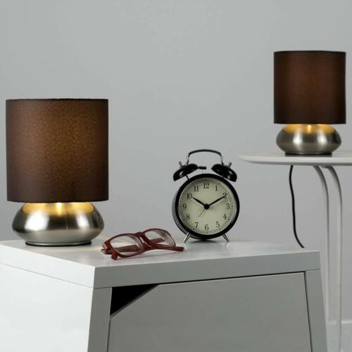 MiniSun Set Due Moderne Lampade da Tavolo Touch Cromate Schermi Marrone