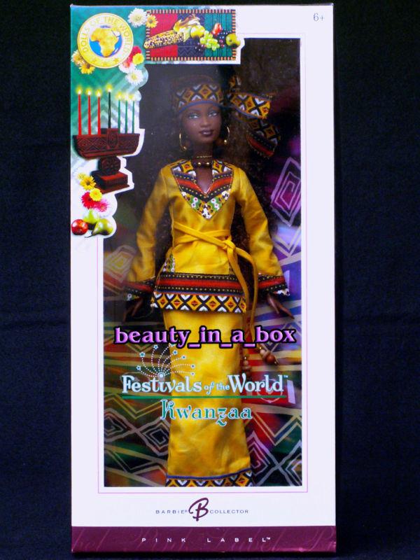 Kwanzaa Muñeca Barbie Festivales Del Mundo Primera frutas muñecas Africa Africano Exc