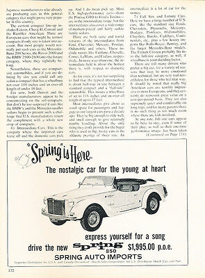 Classic Vintage Advertisement Car Ad J18 1969 Fiat 850 Spider